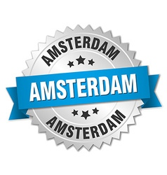 Amsterdam round silver badge with blue ribbon vector