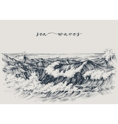 Sea or ocean waves drawing Sea view waves breaking vector image