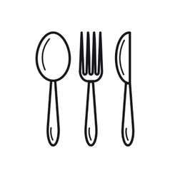 Spoon fork knife - thin line icon vector