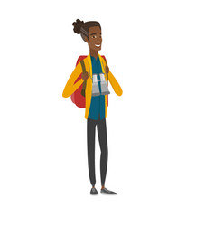 African backpacker with backpack and binoculars vector