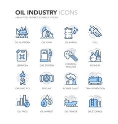 Blue Line Oil Industry Icons vector image vector image