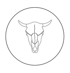 Bull skull icon outline singe western icon from vector