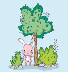 Bunny in forest doodle cartoon vector