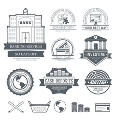 Business set label template of emblem element for vector