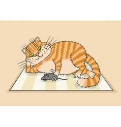 Cat playing with a toy vector image