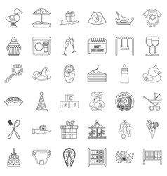 cocktail icons set outline style vector image