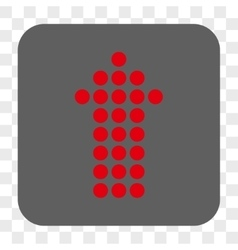 Dotted arrow up rounded square button vector