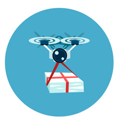 drone delivery icon web button on round blue vector image vector image
