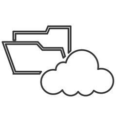 file folder with cloud icon vector image vector image