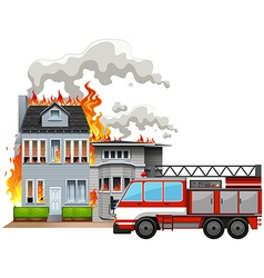 Fire scene with fire truck vector