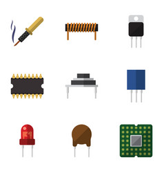 Flat icon electronics set of unit bobbin vector