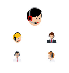 Flat icon telemarketing set of hotline help call vector