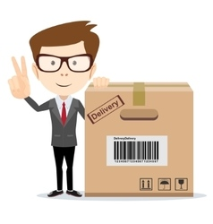 funny cartoon businessman in glasses with a vector image