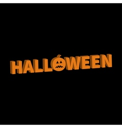 Halloween lettering 3d text banner with sad orange vector