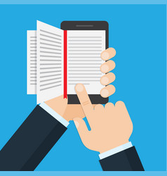 Hand holding a mobile phone with an open book on vector