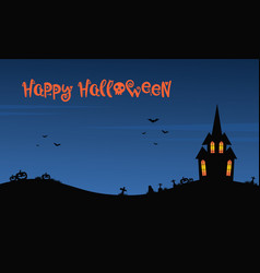 Happy halloween night with castle vector