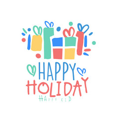 happy holiday happy kid logo template colorful vector image vector image
