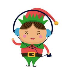 Happy merry christmas elf character vector