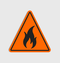 Hazard warning sign flammeble fire in vector