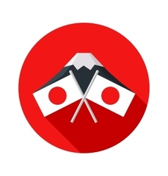 Icon with Japanese flag Mount Fuji vector image vector image