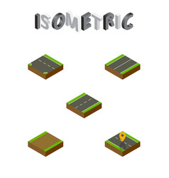 Isometric road set of footpath downward plane vector