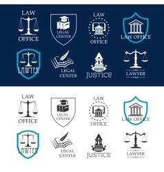 Justice law office and legal center icons vector image vector image