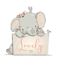 Little lovely elephant with mouse and bird vector