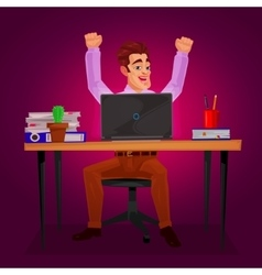 Male worker triumphantly raised his hands vector image