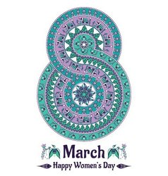 Mandala in the form of number for womens day vector