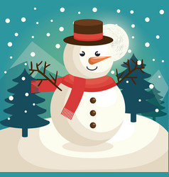Merry christmas snowman character vector