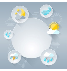 Paper circle banner with weather icons in flat vector