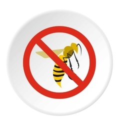 Prohibition sign wasps icon flat style vector
