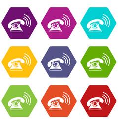 retro phone icon set color hexahedron vector image