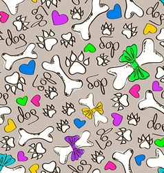 Seamless pattern of dogs paws and bones vector image