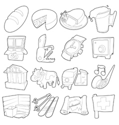 Switzerland travel icons set outline style vector