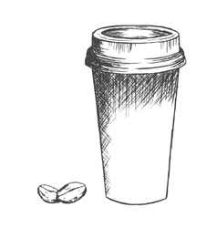 Take away coffee cup and beans sketch vector image vector image