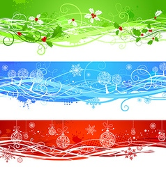 Three Christmas banners vector image vector image