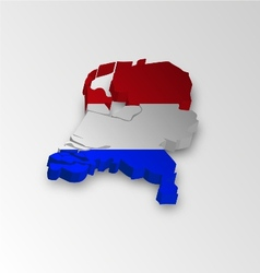 Three dimensional map of Dutch in flag colors vector image