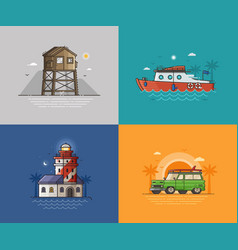 Travel seaside backgrounds vector