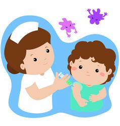 Vaccination child cartoon vector