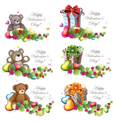 Valentine teddy bears and gift boxes vector