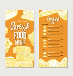Vintage cheese restaurant menu template vector