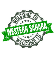Western sahara round ribbon seal vector