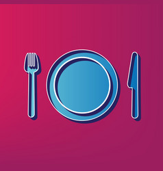 Fork plate and knife  blue 3d printed vector