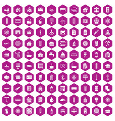100 heating icons hexagon violet vector