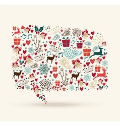 Christmas colors icons social media bubble shape vector