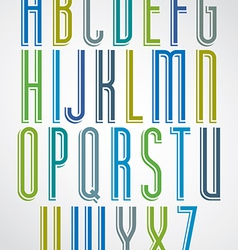 Colorful animated narrow font comic upper case vector
