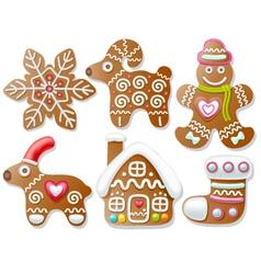 Set of gingerbread vector image