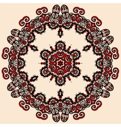 Round mandala in red and loght brown color vintage vector