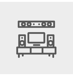 Tv flat screen and home theater thin line icon vector